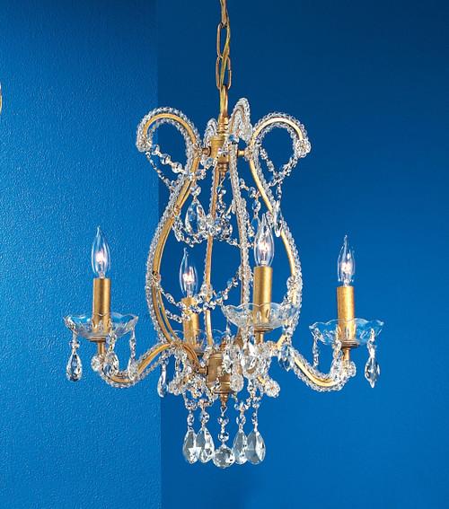Classic Lighting 69724 OG PAM Aurora Crystal Chandelier in Olde Gold