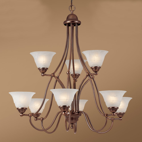 Classic Lighting 69628 RSB WAG Providence Glass/Steel Chandelier in Rustic Bronze