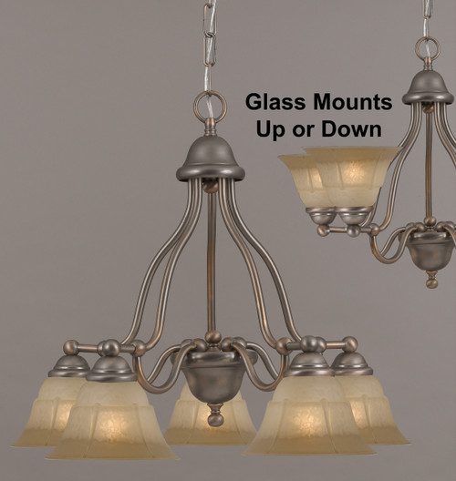 Classic Lighting 69625 ACP TCG Providence Glass/Steel Chandelier in Antique Copper