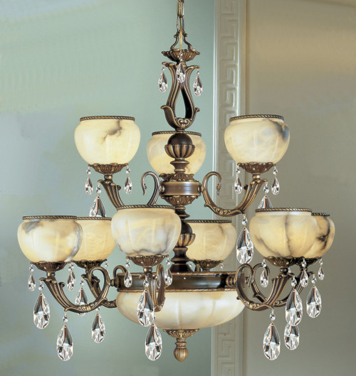 Classic Lighting 69609 SBB Alexandria I Alabaster Chandelier in Satin Bronze/Brown Patina
