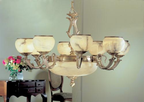 Classic Lighting 69608 SBB Alexandria I Alabaster Chandelier in Satin Bronze/Brown Patina