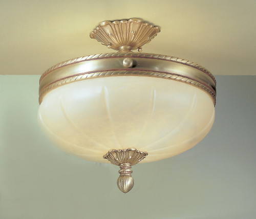 Classic Lighting 69604 VBZ Alexandria I Alabaster Flushmount in Victorian Bronze