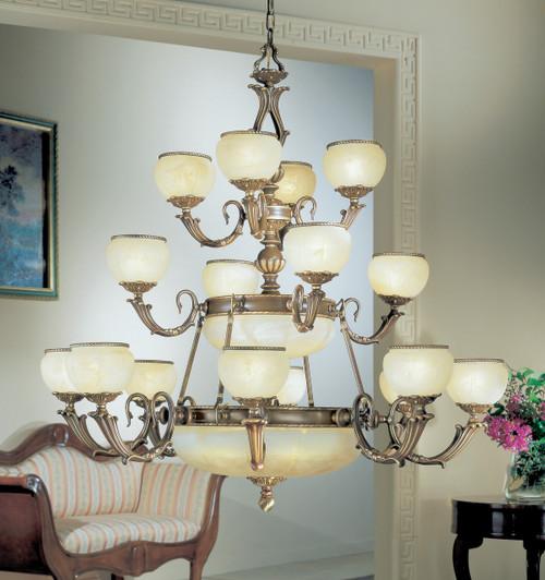 Classic Lighting 69516 SBB Alexandria II Cast Brass/Glass Chandelier in Satin Bronze/Brown Patina