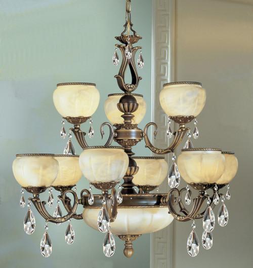 Classic Lighting 69509 VBZ Alexandria II Cast Brass/Glass Chandelier in Victorian Bronze