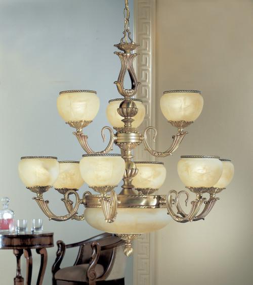 Classic Lighting 69509 SBB Alexandria II Cast Brass/Glass Chandelier in Satin Bronze/Brown Patina