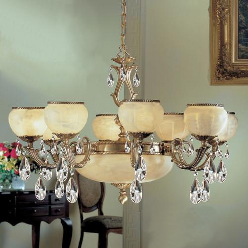Classic Lighting 69508 SBB Alexandria II Cast Brass/Glass Chandelier in Satin Bronze/Brown Patina