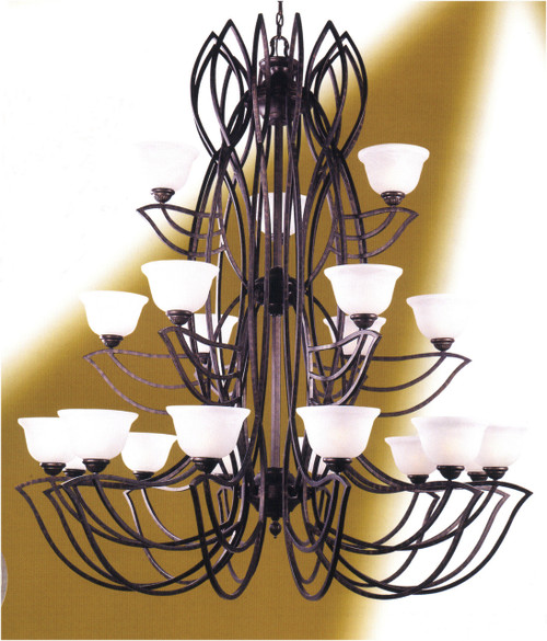 Classic Lighting 68921 SW Alpha Glass/Iron Chandelier in Sand White