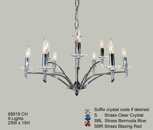 Classic Lighting 68919 CH SBR Helsinki Crystal Chandelier in Chrome