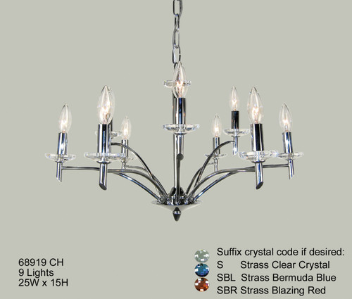 Classic Lighting 68919 CH S Helsinki Crystal Chandelier in Chrome