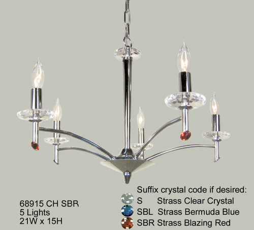 Classic Lighting 68915 CH SBR Helsinki Crystal Chandelier in Chrome