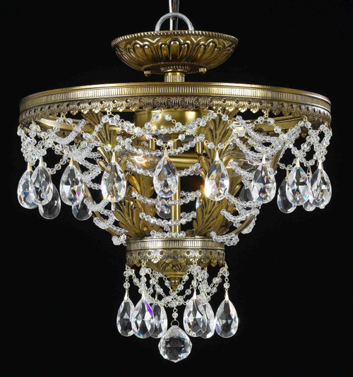 Classic Lighting 68910 RNB CP Contessa Crystal Flushmount in Brass