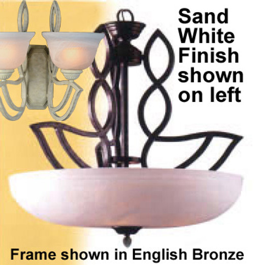 Classic Lighting 68903 SW Alpha Glass/Iron Pendant in Sand White