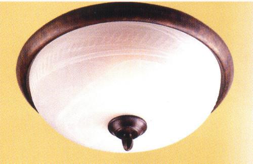 Classic Lighting 68900 EB Alpha Glass/Iron Flushmount in English Bronze