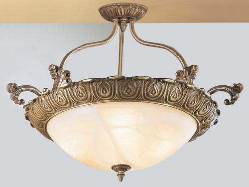 Classic Lighting 68513 RB Montego Bay Cast Brass/Glass Flushmount in Roman Bronze