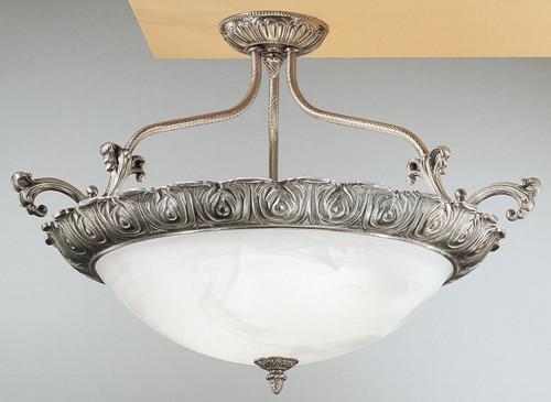 Classic Lighting 68513 MS Montego Bay Cast Brass/Glass Flushmount in Millennium Silver