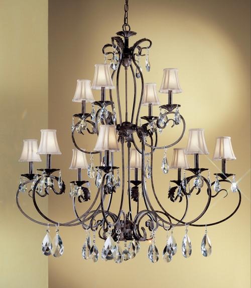 Classic Lighting 68319 EB SC Manilla II Crystal Chandelier in English Bronze