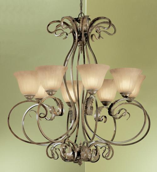 Classic Lighting 68308 EB SSG Manilla Wrought Iron Chandelier in English Bronze