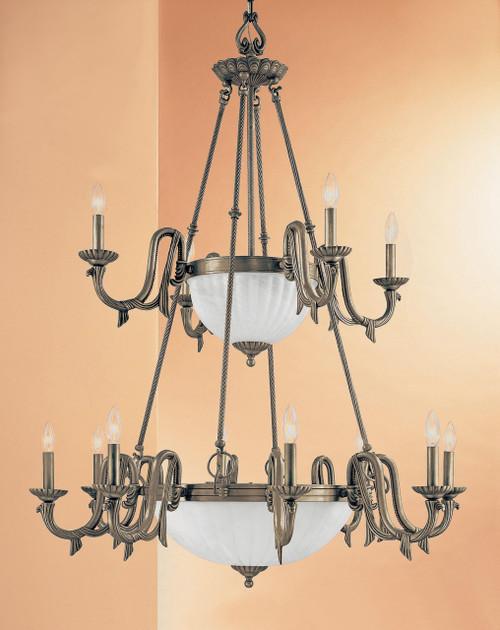 Classic Lighting 68009 PTR St. Moritz Cast Glass Chandelier in Pewter