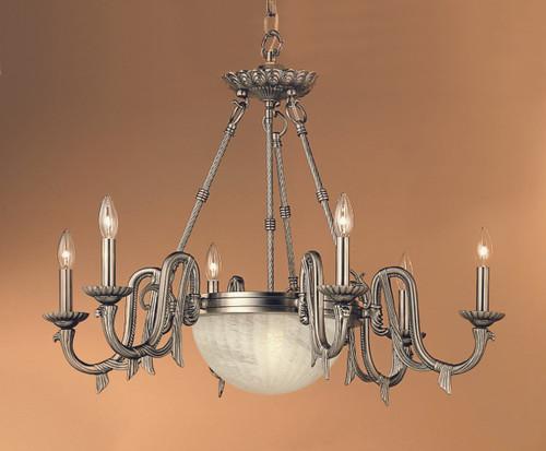 Classic Lighting 68006 PTR St. Moritz Cast Glass Chandelier in Pewter