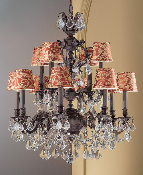Classic Lighting 57389 AGP CBK Chateau Imperial Crystal Chandelier in Aged Pewter (Imported from Spain)