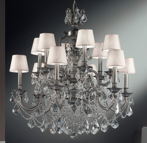 Classic Lighting 57387 AGP CBK Chateau Imperial Crystal Chandelier in Aged Pewter (Imported from Spain)