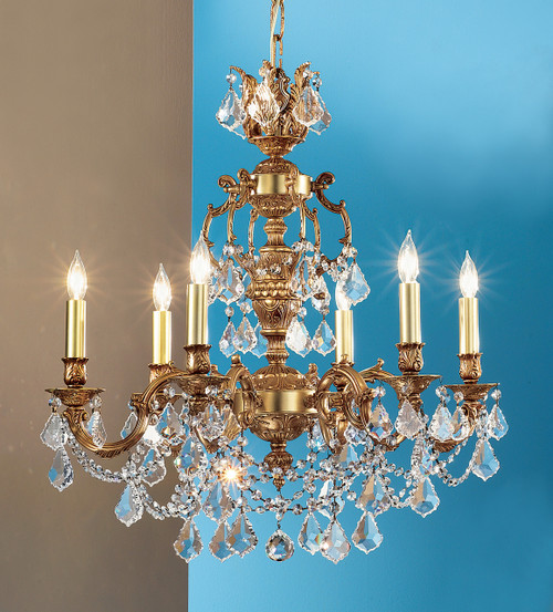 Classic Lighting 57386 AGP CBK Chateau Imperial Crystal Chandelier in Aged Pewter (Imported from Spain)