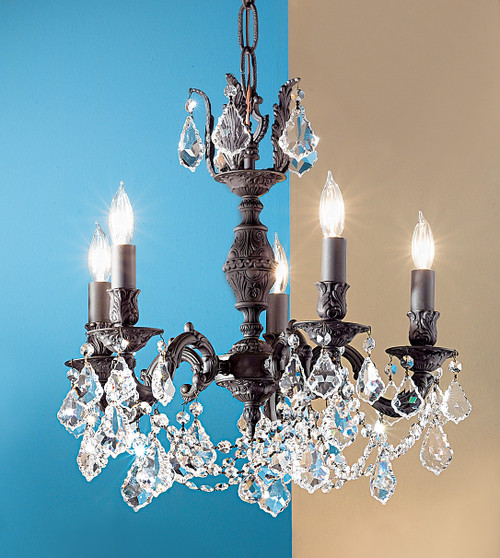 Classic Lighting 57385 AGP CBK Chateau Imperial Crystal Chandelier in Aged Pewter (Imported from Spain)