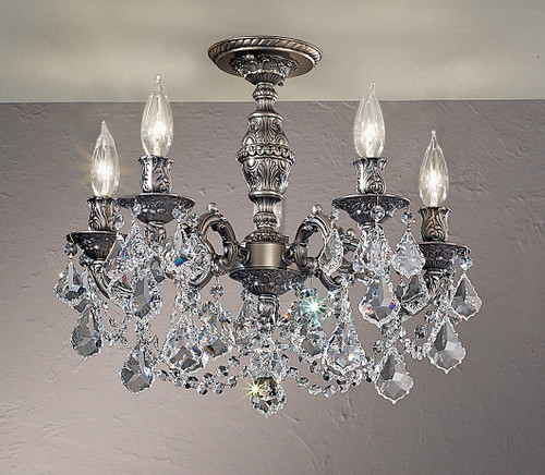 Classic Lighting 57384 AGP CP Chateau Imperial Crystal Flushmount in Aged Pewter (Imported from Spain)
