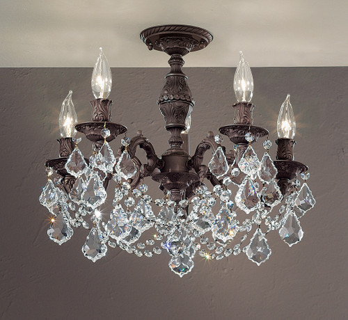 Classic Lighting 57384 AGB CBK Chateau Imperial Crystal Flushmount in Aged Bronze (Imported from Spain)