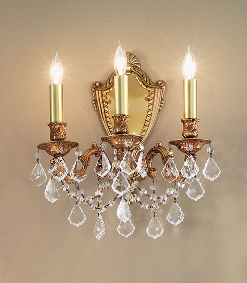 Classic Lighting 57383 AGP CBK Chateau Imperial Crystal Wall Sconce in Aged Pewter (Imported from Spain)