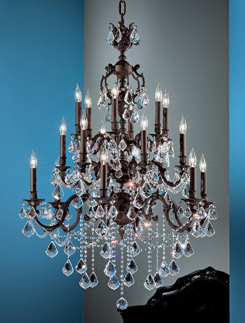 Classic Lighting 57380 AGP CBK Chateau Imperial Crystal Chandelier in Aged Pewter (Imported from Spain)