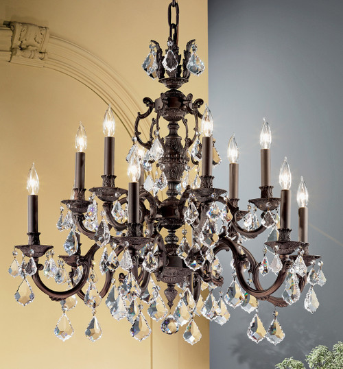 Classic Lighting 57377 AGB CBK Chateau Crystal Chandelier in Aged Bronze (Imported from Spain)