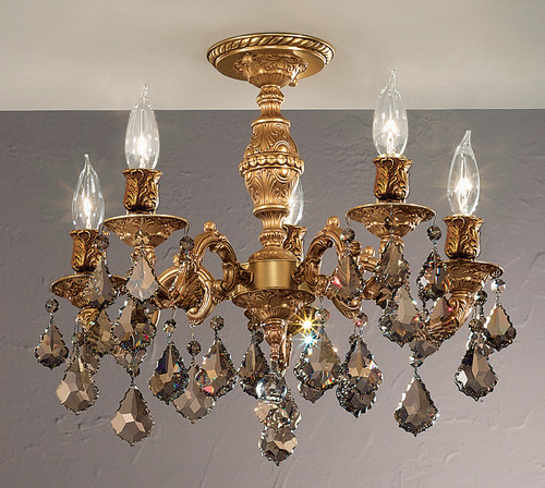 Classic Lighting 57374 FG CBK Chateau Crystal Flushmount in French Gold (Imported from Spain)
