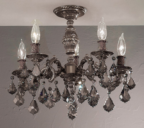 Classic Lighting 57374 AGP CBK Chateau Crystal Flushmount in Aged Pewter (Imported from Spain)
