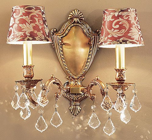 Classic Lighting 57372 FG SGT Chateau Crystal Wall Sconce in French Gold (Imported from Spain)