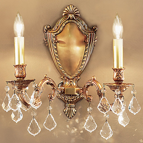 Classic Lighting 57372 AGB CBK Chateau Crystal Wall Sconce in Aged Bronze (Imported from Spain)