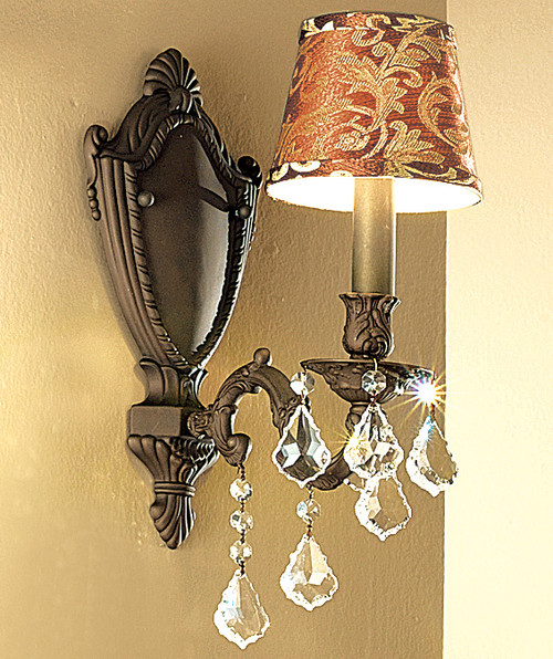 Classic Lighting 57371 AGB S Chateau Crystal Wall Sconce in Aged Bronze (Imported from Spain)