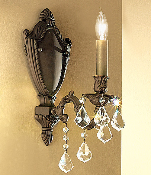 Classic Lighting 57371 AGB CP Chateau Crystal Wall Sconce in Aged Bronze (Imported from Spain)