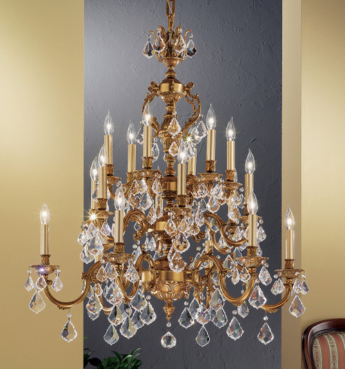 Classic Lighting 57370 FG SGT Chateau Crystal Chandelier in French Gold (Imported from Spain)