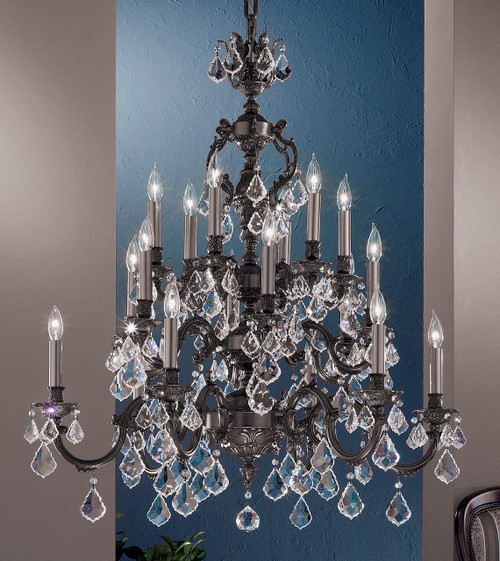 Classic Lighting 57370 AGP CBK Chateau Crystal Chandelier in Aged Pewter (Imported from Spain)