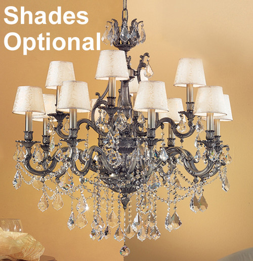 Classic Lighting 57359 AGP CGT Majestic Imperial Crystal Chandelier in Aged Pewter (Imported from Spain)