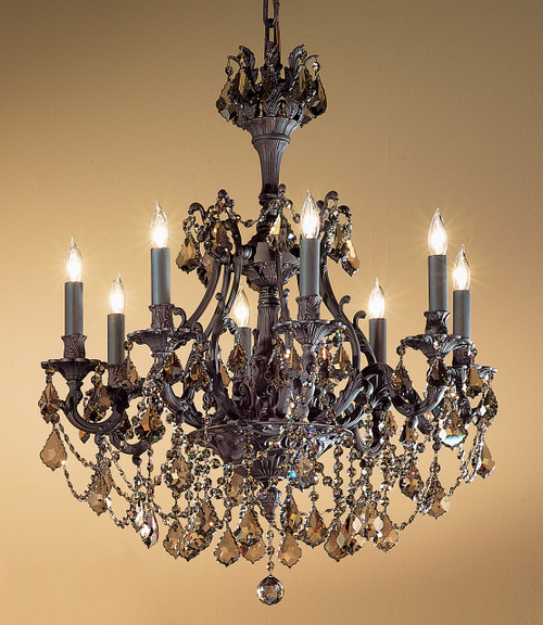 Classic Lighting 57358 AGP CGT Majestic Imperial Crystal Chandelier in Aged Pewter (Imported from Spain)