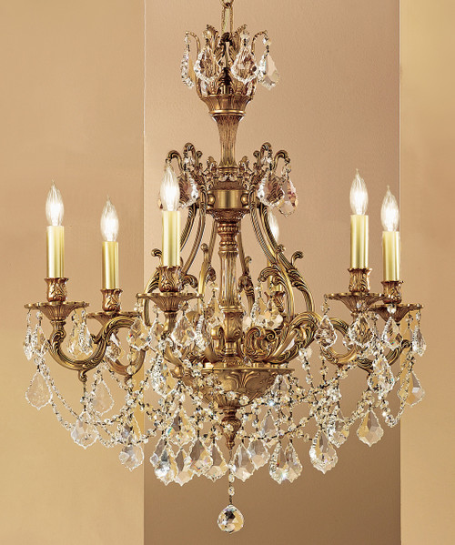 Classic Lighting 57356 AGP CBK Majestic Imperial Crystal Chandelier in Aged Pewter (Imported from Spain)