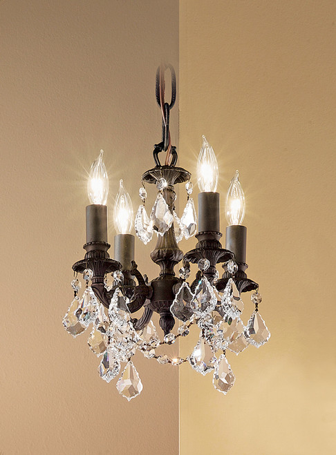 Classic Lighting 57354 AGP CBK Majestic Imperial Crystal Mini Chandelier in Aged Pewter (Imported from Spain)