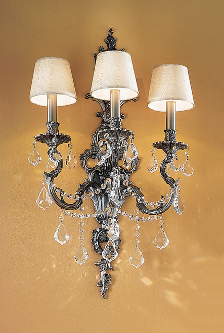 Classic Lighting 57353 AGP SGT Majestic Imperial Crystal Wall Sconce in Aged Pewter (Imported from Spain)