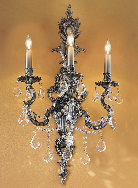 Classic Lighting 57353 AGP CGT Majestic Imperial Crystal Wall Sconce in Aged Pewter (Imported from Spain)