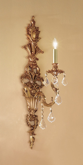 Classic Lighting 57351 AGB CBK Majestic Imperial Crystal Wall Sconce in Aged Bronze (Imported from Spain)