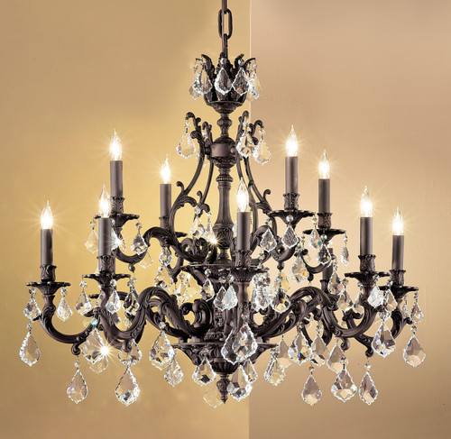 Classic Lighting 57349 AGP CBK Majestic Crystal Chandelier in Aged Pewter (Imported from Spain)