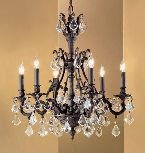 Classic Lighting 57346 AGP CBK Majestic Crystal Chandelier in Aged Pewter (Imported from Spain)