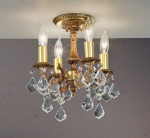Classic Lighting 57345 FG SC Majestic Crystal Flushmount in French Gold (Imported from Spain)